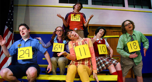 <p>Taylor Winfield Babcock, Lilli Babb, Whitney Claire Kaufman, Tad Alan Murroughs, Allison Lewis and Miller James star in The Theatre Group at SBCC's production of <i>The 25th Annual Putnam County Spelling Bee</i>.</p>