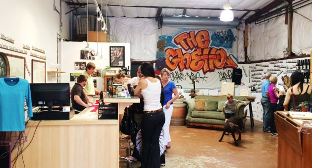 <p>Flying Goat Cellars' dog-friendly tasting room in the Lompoc Wine Ghetto.</p>