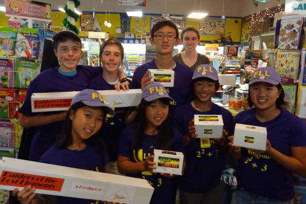Team FLL & Beyond: 2 squared + 3 at Bennett's Education store, where they presented their two new invented games. (Ri-Pen 'Rip' Chou photo)