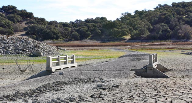 As Lake Cachuma reveals its dry side, all sorts of hidden treasures are emerging, including this 1930s-era concrete bridge. (Urban Hikers photo)