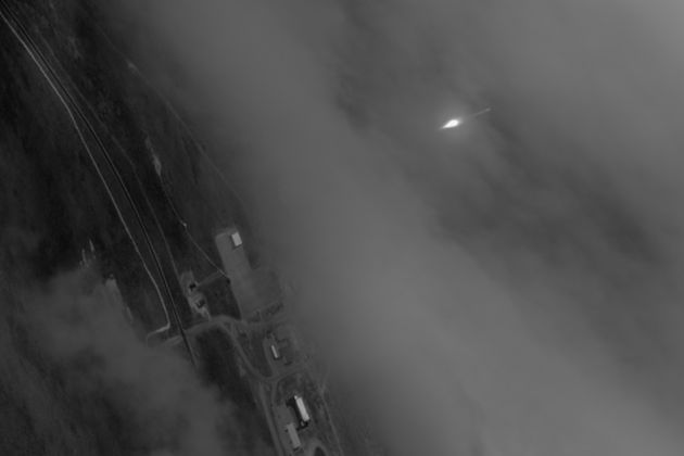 n an image taken from the WorldView-1 satellite, the Atlas 5 rocket carrying the WorldView-3 satellite is visible as it climbs away from Vandenberg Air Force Base on Aug. 13. (DigitalGlobe photo)