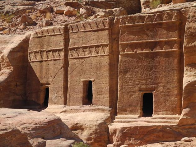 The carved tombs of the Nabateans.