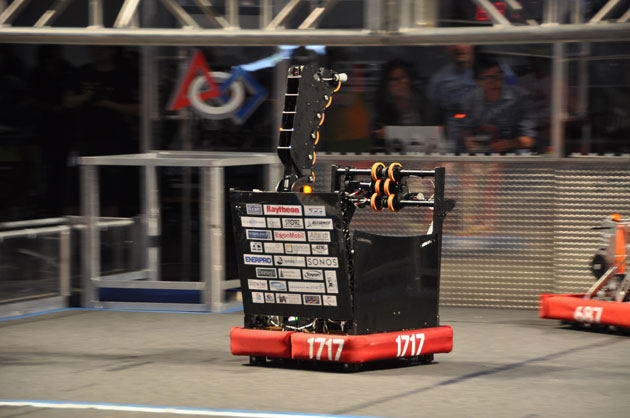 Team 1717's robot in action during the championship round of the Las Vegas FIRST Robotics championship.