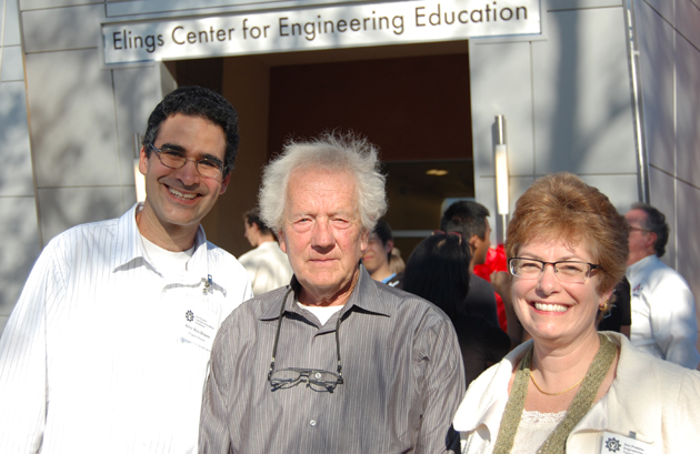 Celebrating the new Elings Center for Engineering Education are, from left, Dos Pueblos Engineering Academy director Amir Abo-Shaeer, Dr. Virgil Elings and DPEA Foundation president Sandy Seale.