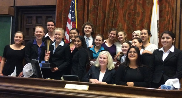<p>For the sixth consecutive year, Dos Pueblos High School's Mock Trial Team has earned Santa Barbara County's top honors, defeating San Marcos High 2-0.</p>