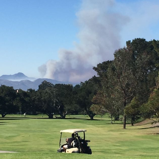 Golfers at Village Country Club in Vandenberg Village had an impressive view of the smoke from the Canyon Fire on Sunday.