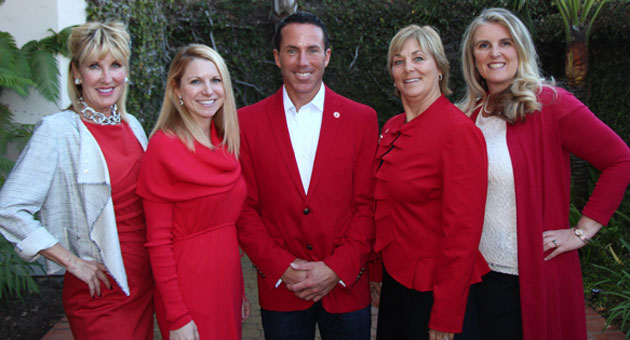 From left, 2014 Santa Barbara Go Red For Women Luncheon keynote speaker Diana Jordan, American Heart Association executive director Lisa Dosch and passion speakers Will Bowden, Marlys Boehm and Sarah Jaimes. (Melissa Walker / Noozhawk photo)