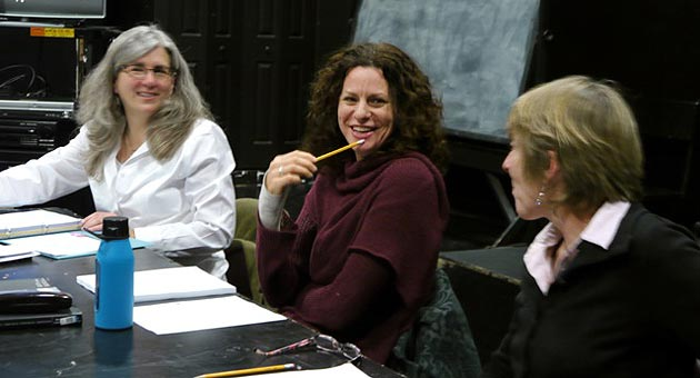 From left, director Risa Brainin, playwright Alison Tatlock and actor Victoria Finlayson at an interactive read-through of the play, 'Untitled IV by Ruth Markofsky', a UC Santa Barbara Launch Pad production running Feb. 27 through March 8. (Maureen McFadden photo)