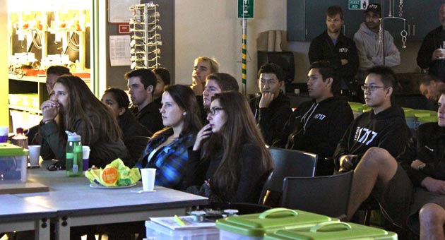 Dos Pueblos Engineering Academy students watch as their future unfolds before them with Saturday's announcement of the 2014 FIRST Robotics game details. (Dos Pueblos Engineering Academy photo){