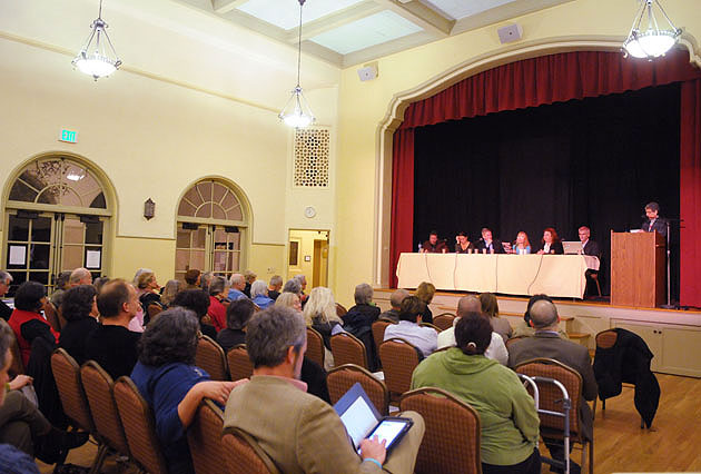 About 100 people gathered Thursday at the Survival Santa Barbara forum held at the Unitarian Society of Santa Barbara.