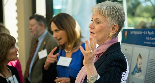 Victoria Mann Simms Ph.D. convened a daylong meeting at her Montecito home to share news of the work she and colleagues are doing in the area of early childhood development and education. (John Rose / Foundation for Santa Barbara City College photo)