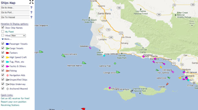 This screen shot was taken from the website tracking Automatic Identification System-equipped vessels in and around the Santa Barbara Channel on a recent Sunday afternoon.