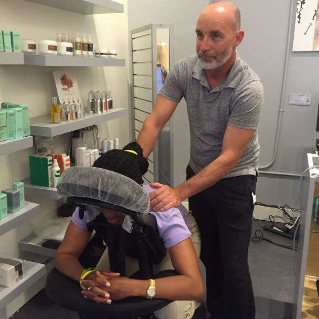 Guests at FG Beauty Boutique's grand opening oohed and aahed over Hari Siddhadas' chair massages.