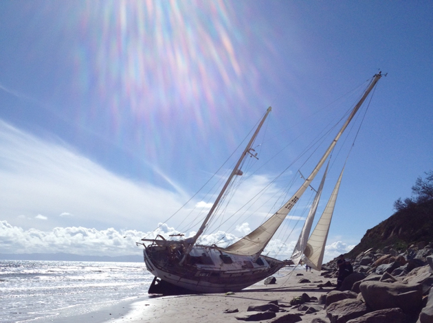 According to the U.S. Coast Guard, no one was injured when the storm beached this sailboat. (Michael Rattray photo)