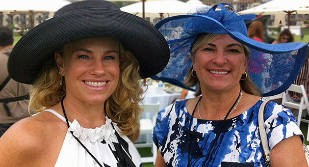Lynda Wilkinson, left, and Marcella Young of Santa Barbara looked the part for the royal visit.