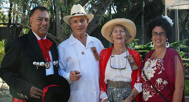 <p>From left, former Santa Barbara Mayor Hal Conklin; 1992 El Presidente J.J. Hollister and his wife, La Prima Donna Barbara Hollister; and Mayor Helene Schneider.</p>