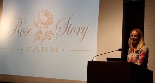 Rose Story Farm's Dani Hahn delivers her acceptance speech and guest lecture after receiving the 2014 Great Rosarian of the World Award earlier this month at The Huntington Botanical Gardens in San Marino.