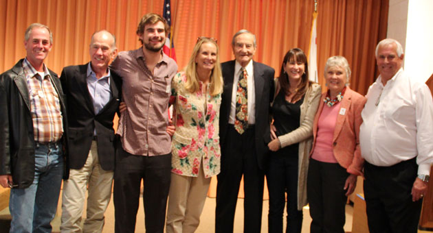The Rose Story Farm team after the awards presentation at The Huntington Botanical Gardens. From left, Bob Bonhof; Bill Hahn; Will Hahn; Dani Hahn and her dad, 91-year-old Lorenzo Dall'Armi; sister Nina Dall'Armi and mom Patty Dall'Armi; and Clair Martin, curator emeritus of The Huntington Botanical Gardens and founder of the Great Rosarian of the World Award.