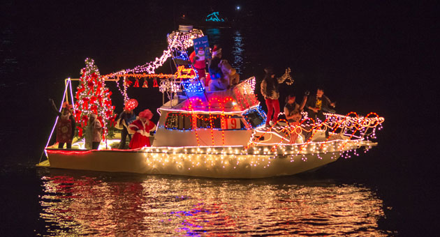 From the band on its bow to the Christmas tree at its stern, this vessel was fully decked out for Santa Barbara's annual Parade of Lights.