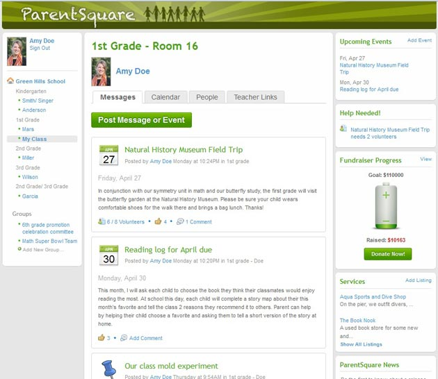 The ParentSquare interface, shown here in the model Green Hills School homepage, includes messages, groups, events, fundraising efforts and calendars.