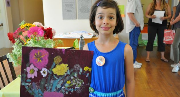 ArtVenture Camp students proudly display their work. (Serena Doubleday / Noozhawk photo)