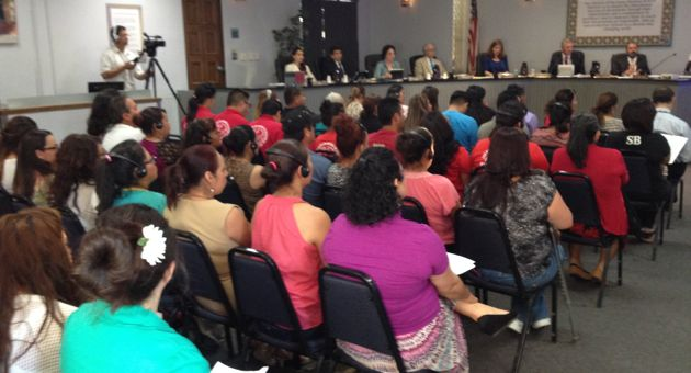 Fueled by an increasing turnout among Latino parents, Santa Barbara Unified School District trustees meetings are filling to capacity. (Sal Guerena photo)
