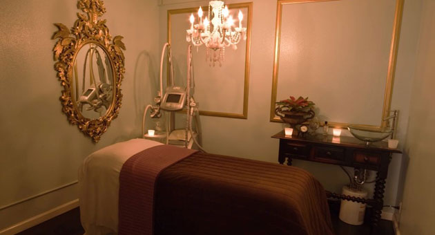 The well-appointed interior of a treatment room at the salon.