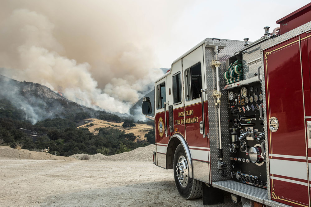 Montecito firefighters were among those deployed on the front lines of the Whittier Fire. (Zack Warburg / Noozhawk photo)