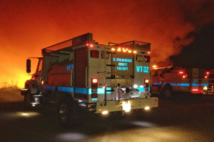 Crews from the Santa Barbara County Fire Department are among the personnel battling the Canyon Fire on Vandenberg Air Force Base.