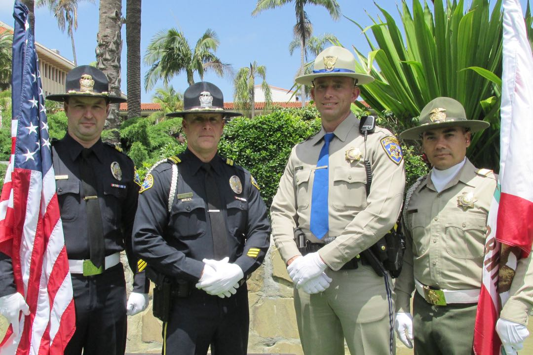 From left, Santa Barbara police Sgt. Eric Beecher, Officer Greg Hons, California Highway Patrol Officer Jon Brown and sheriff's Deputy Rick Soto served as the day's Color Guard unit.