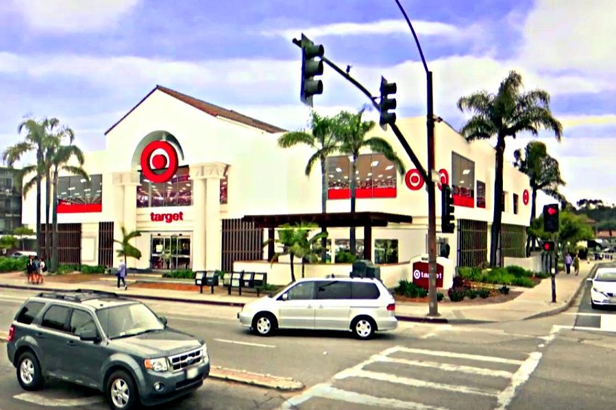 An existing design feature at Target's new Santa Barbara store is a half-circle arch that provides a convenient location for the company's trademark bulls-eye logo. Target officials presented the Architectural Board of Review with their proposed changes for the 32,000-square-foot-building at 3891 State St.