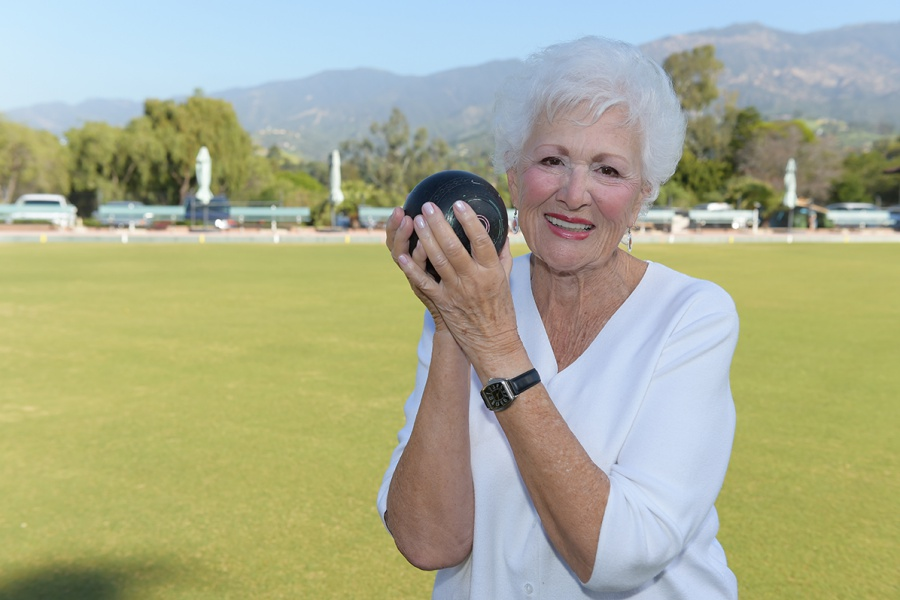 Within two months of her knee replacement surgery, Audrey had rejoined her lawn-bowling teammates on the course.