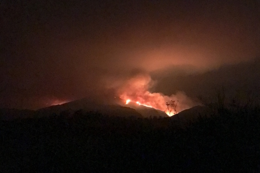 This shot in the dark was taken just before midnight July 8, looking north from Cathedral Oaks Road in far western Goleta. (Will Macfadyen / Noozhawk photo)