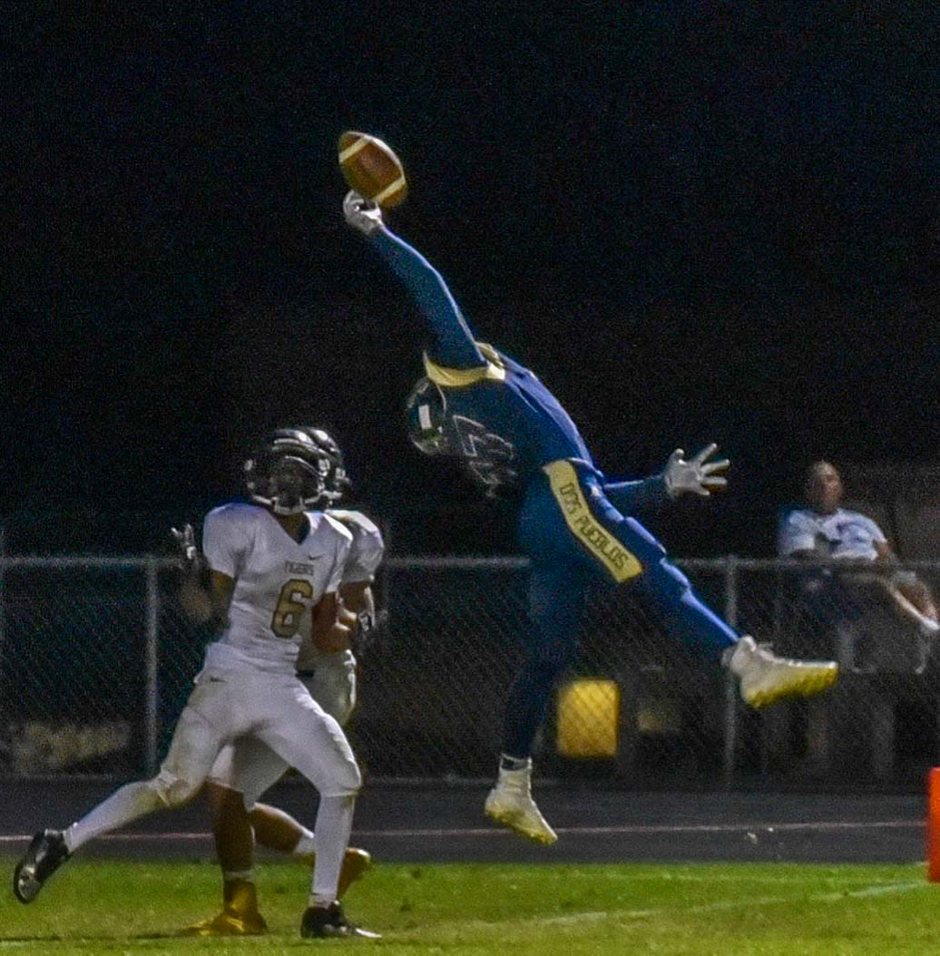 Dos Pueblos' Michael Elbert leaps for a fingertip grab.