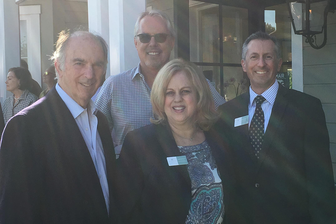 Helping to celebrate the third anniversary of American Riviera Bank's Montecito branch are, Chairman of the Board Lawrence Koppleman, Board Member Doug Margerum, Assistant Vice President and Client Relationship Manager at the bank's Montecito branch Kathy Kerstiens and and President and CEO Jeff DeVine.