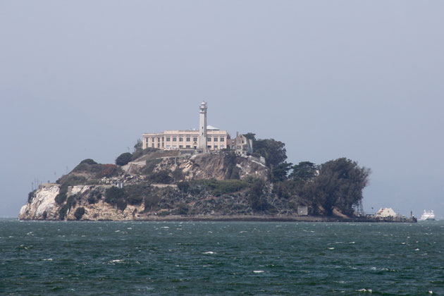 Alcatraz Island in San Francisco Bay, as seen from an approaching ferry.