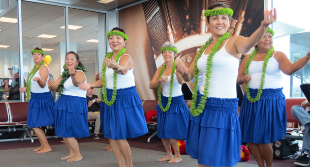 <p>Local Hawaiian hula dancers were on hand Saturday as a send-off to passengers on Allegiant Air&#8217;s inaugural flight to Hawaii from Santa Maria Public Airport.</p>