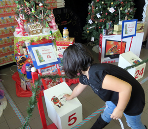 Sierra Banks, 8, of Orcutt, placed a ticket into a box for a chance to win a tree donated and decorated by Pan American Insurance Agency. (Gina Potthoff / Noozhawk photo)