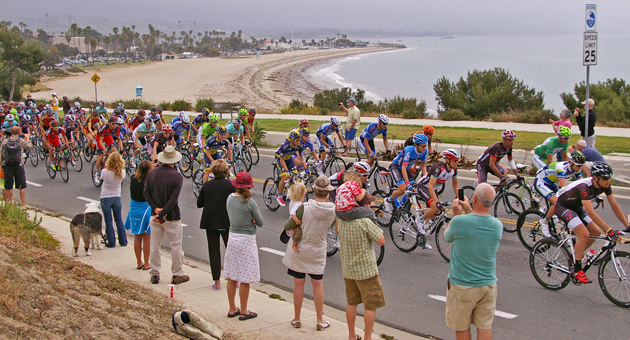 Cyclists make their way up the hill near Shoreline Park in Santa Barbara Thursday, near the beginning of the Stage 5 of the Tour of California. (Tom Bolton / Noozhawk photo)