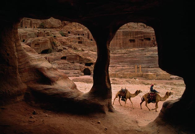 Camels lope through the ancient city of Petra in Jordan. (Annie Griffiths photo)