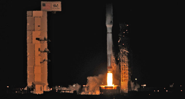 <p>An Atlas V rocket carrying a top-secret National Reconnaissance Office payload leaves the launch pad at Vandenberg Air Force Base in December. An Atlas carrying a military weather satellite is set to blast off from the base on Thursday.</p>