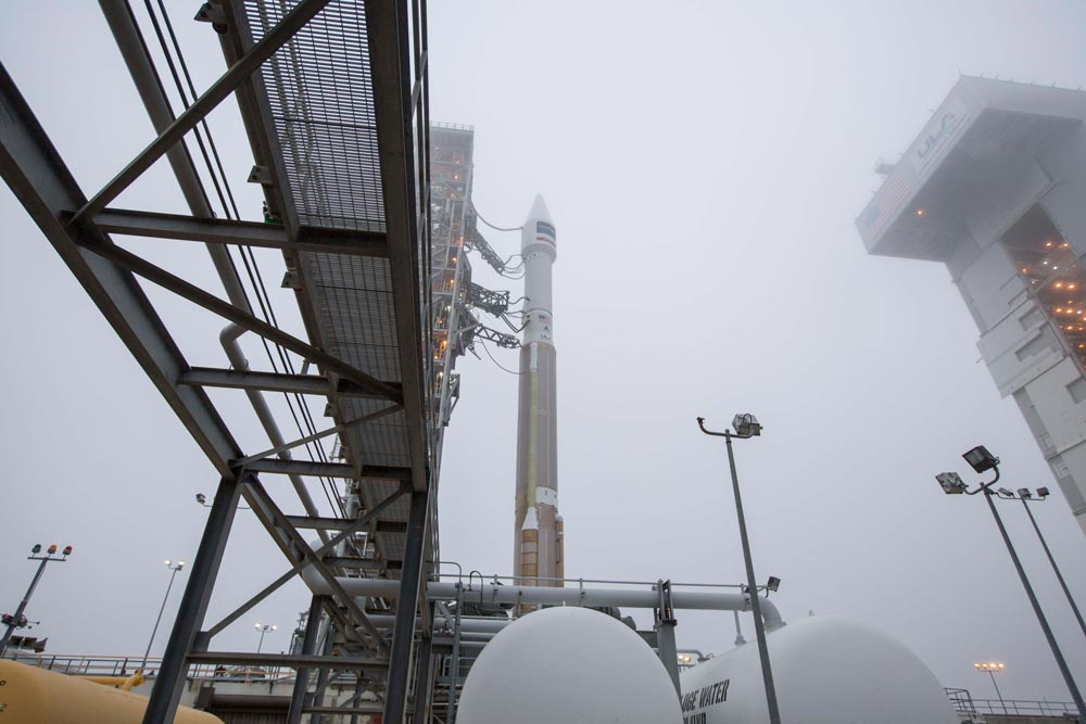 Crews prepare for the liftoff of the Atlas V rocket from Vandenberg Air Force Base.