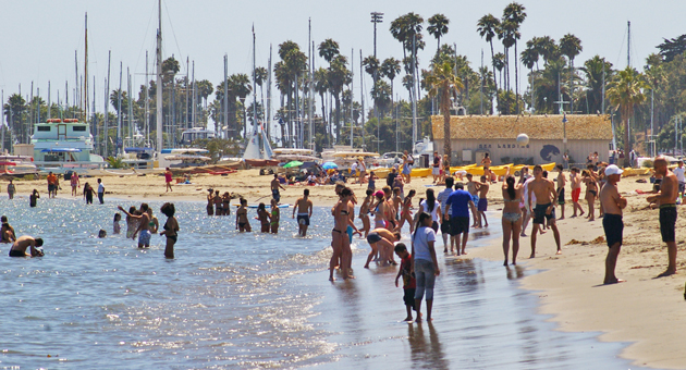 <p>The shoreline near Stearns Wharf in Santa Barbara is crowded with beachgoers trying to beat the heat on Tuesday. Forecasters say perfect summer weather is on tap through the weekend, with gusty sundowner winds expected Tuesday night.</p>