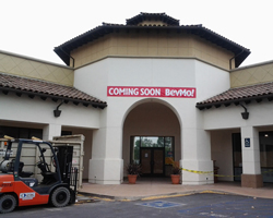A new BevMo location is under construction at the Camino Real Marketplace in Goleta, with opening slated for August. (Patrick Kulp / Noozhawk photo)
