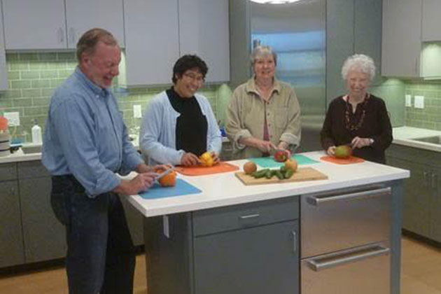 Braille Institute Santa Barbara students Tom Duher, Beatrice Ochoa, Pat Stafford and Pat Fiers gain kitchen confidence with adaptive cooking techniques in Braille Institute Santa Barbara's state-of-the-art training kitchen.