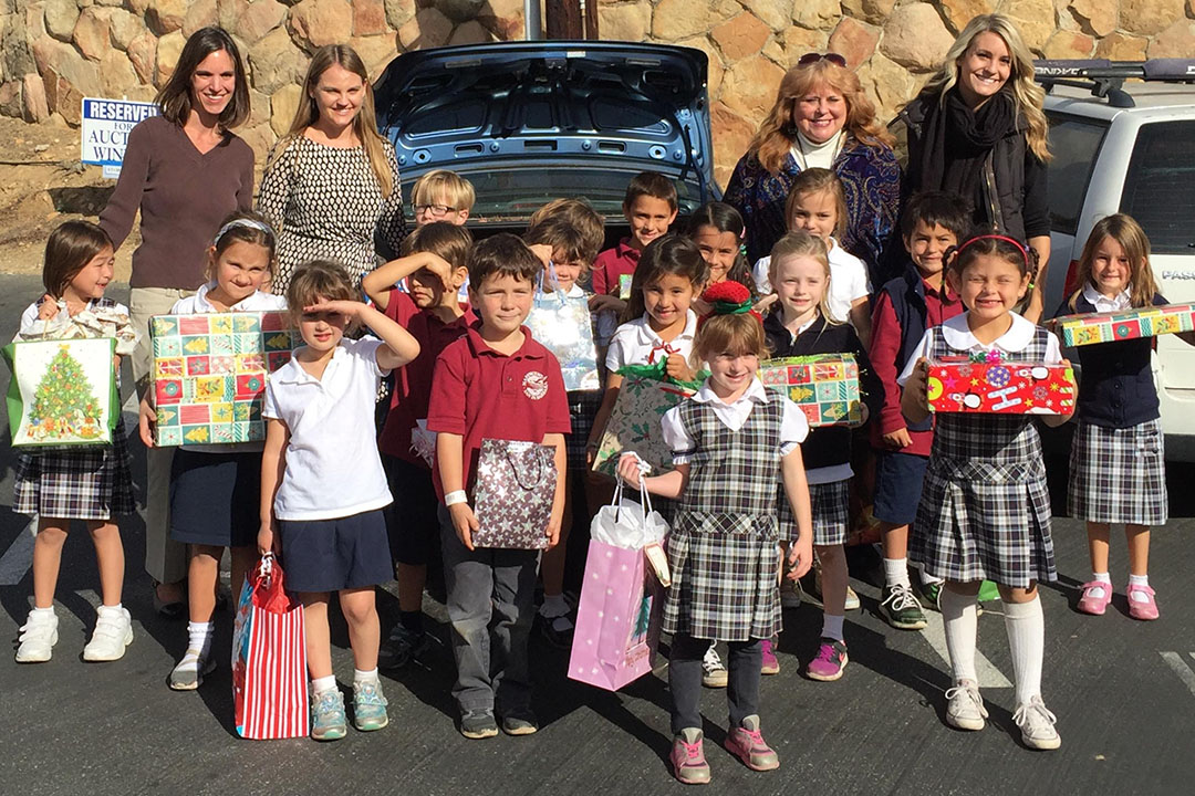 Students from Marymount School's Kindergaten class participated in CALM's Adopt-a-Family program.