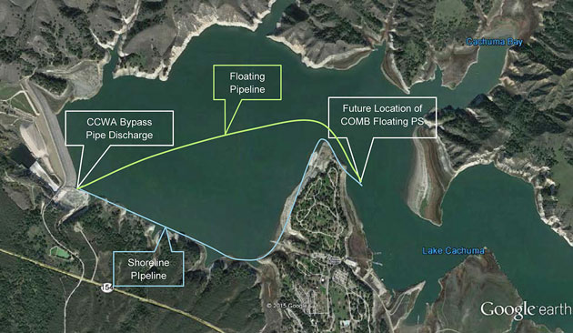 The Central Coast Water Authority could connect its pipeline to the Cachuma Operation and Maintenance Board emergency pumping barge, shown at its proposed second location near Lake Cachuma County Park, which connects directly to the intake tower delivering water to the South Coast. (Central Coast Water Authority photo)