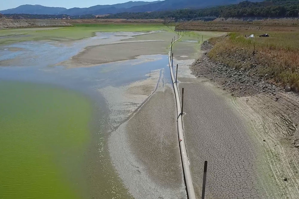 The Cachuma Operation and Maintenance Board voted on Monday to fund the initial engineering work on a permanent pipeline project for the reservoir, which would replace a temporary pipeline, above.