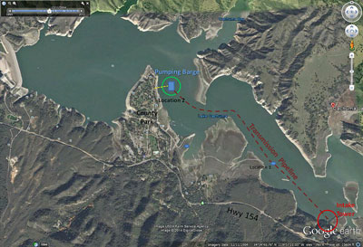 The Cachuma Operation and Maintenance Board's emergency pumping barge is placed in the eastern end of Lake Cachuma near the intake tower (seen as the Location 1) and will be moved to a deeper spot (Location 2) if necessary. (Cachuma Operation and Maintenance Board photo)