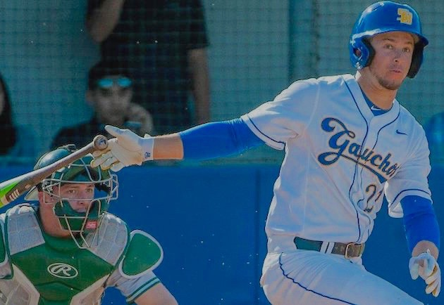 Andrew Calica lets his bat fly during a base hit versus UC Riverside on Thursday afternoon.